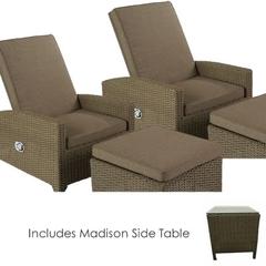 Hartman Madison/Appleton Recliner Duet Set 2017 Sepia (Brown Rattan) with Henna Cushions