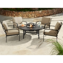 Jamie Oliver Contemporary Garden Firepit Set Bronze - Biscuit Cushions