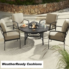 Hartman Jamie Oliver Contemporary Fire Pit Set Weatherready Cushions Bronze/Biscuit