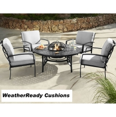 Hartman Jamie Oliver Contemporary Fire Pit Set Weatherready Cushions Riven/Pewter