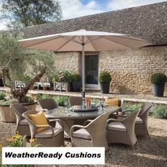 Hartman Kingsbury 8 Seat Elliptical Table Set with Lazy Susan Weatherready Cushions Bark/Sand