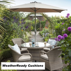 Hartman Kingsbury 4 Seat Set Weatherready Cushions Bark/Sand