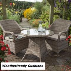 Hartman Kingsbury Bistro Set Weatherready Cushions Bark/Sand