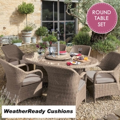 Hartman Kingsbury 6 Seat Round Table Set with Lazy Susan Weatherready Cushions Bark/Sand