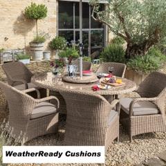Hartman Kingsbury 6 Seat Elliptical Table Set with Lazy Susan Weatherready Cushions Bark/Sand