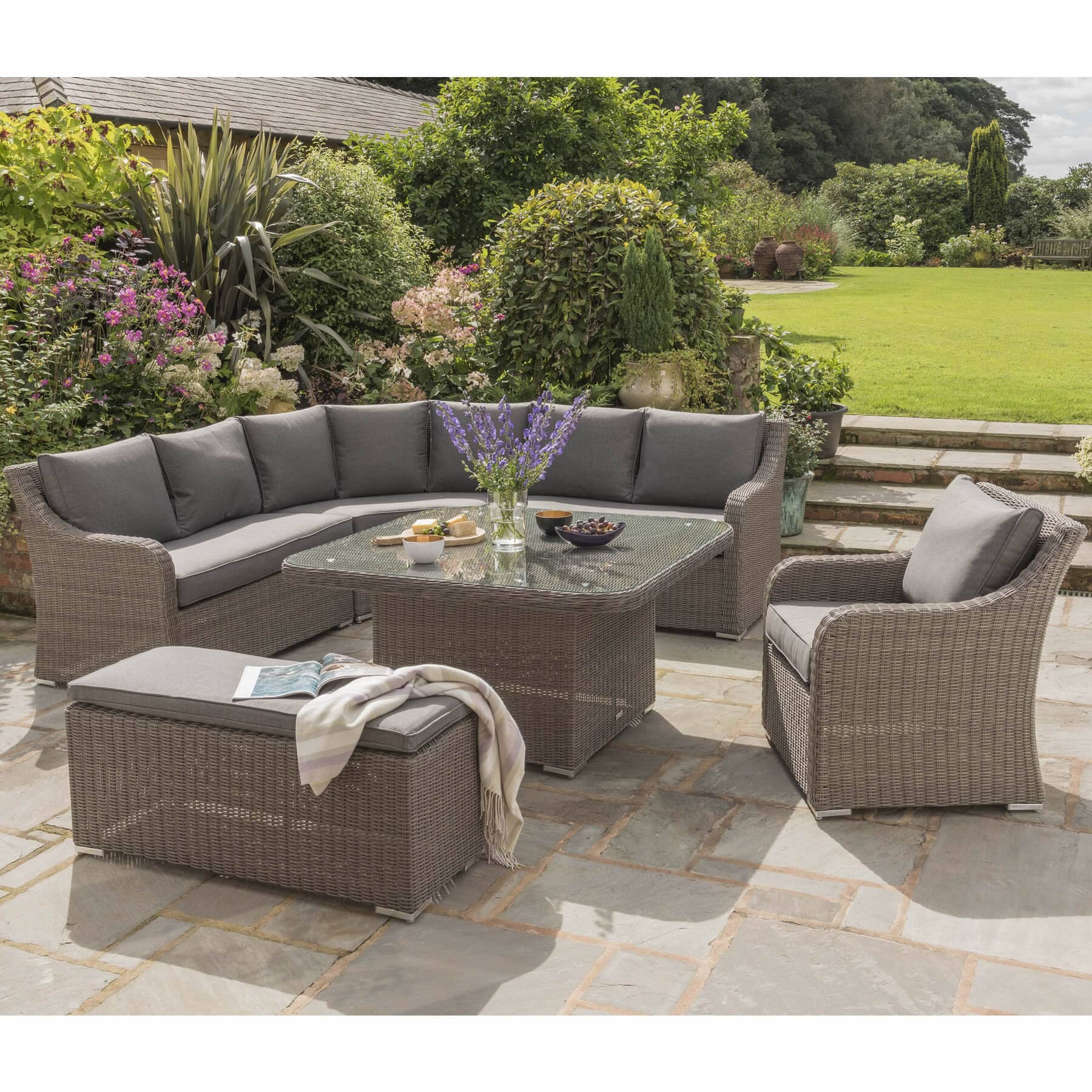 Kettler Madrid Complete Corner Set In Rattan With Taupe ...