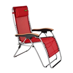 Outback Textilene Relaxer with Timber Armrests Wine