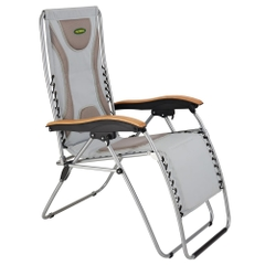 Outback Deluxe Padded Relaxer With Timber Armrest Grey