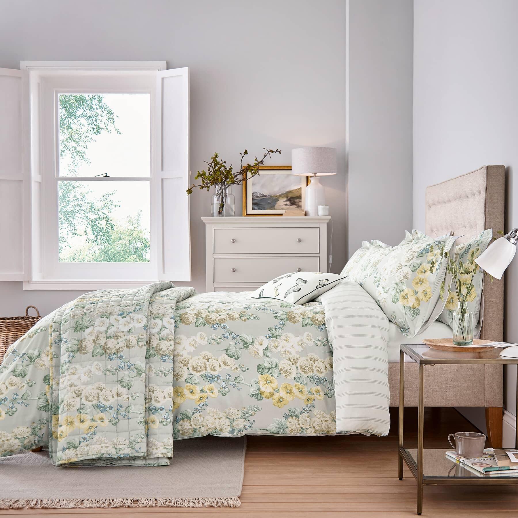 sanderson hollyhocks justlinen. Black Bedroom Furniture Sets. Home Design Ideas