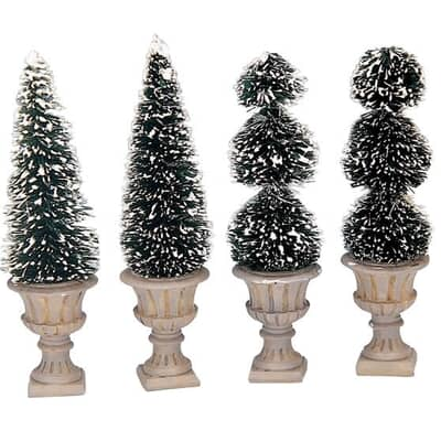 Lemax - Cone-Shaped and Sculpted Topiaries Set Of 4
