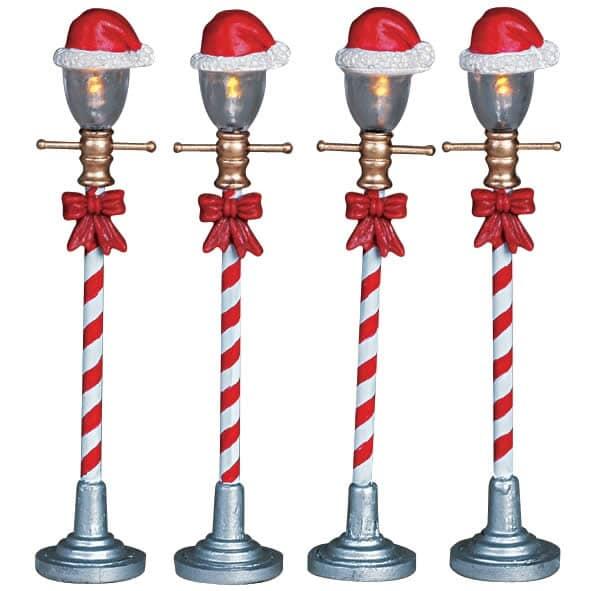 Lemax - Santa Hat Street Lamp Set Of 4 B/O (4.5V)