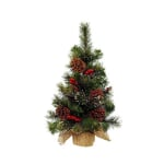 Kaemingk Snowy Mini Tree Berries Pine Cones Green/White 45cm