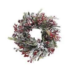 Kaemingk 40cm Wreath Frost And Red Berry