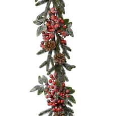 Kaemingk 176cm Snowy Garland-Berries & Cones